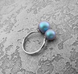 Кольца ручной работы Серебряное кольцо с жемчугом Сваровски