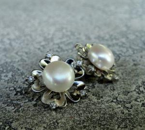 """Білі сережки Сережки """"Pearl Flower"""" - срібло, нат. перли"""