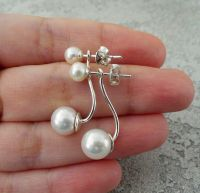 Сережки-джекети  - срібло, натуральні перли