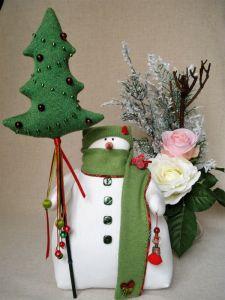 Куклы ручной работы Снеговик рождественский