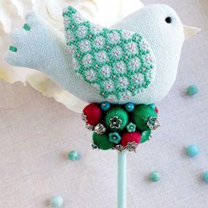 Декор для дома Птичка с цветами колокольчиками