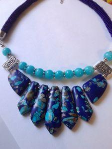 """Ожерелье из варисцита """"Синяя лазурь"""""""
