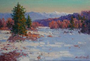 Нарисованные картины Морозний ранок