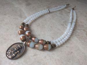 Ожерелье из агата Бусы Агат-венецианское стекло