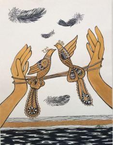 """Нарисованные картины Серия """"Птицы"""". Композиция #9"""