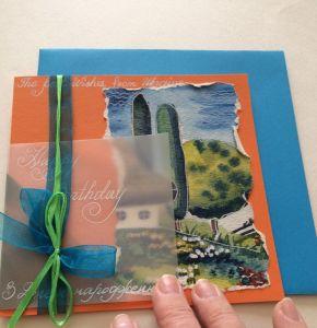 Разное Рукотворная открытка в украинском стиле на День рождения