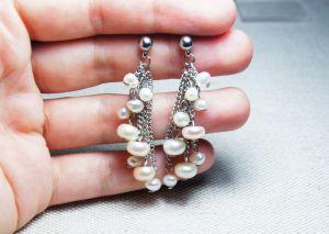 """Сережки з перлами Сережки """"Море та Місяць"""""""