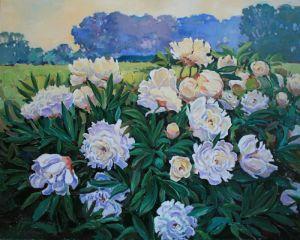 Нарисованные картины Белые пионы