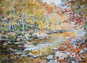 Нарисованные картины Река в горах