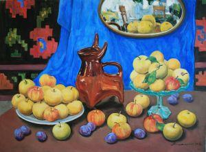 Нарисованные картины Яблоки с кувшином и зеркалом