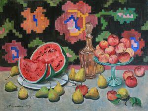 Нарисованные картины Арбуз, яблоки и груши