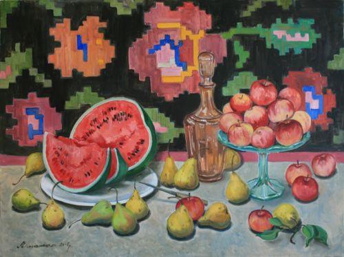 Арбуз, яблоки и груши