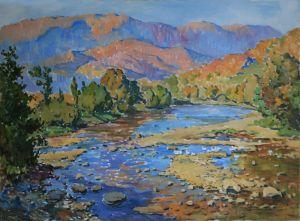 Нарисованные картины Река Уж