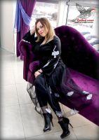 Юбка из черной евросетки с вышитыми шелклвыми перьями
