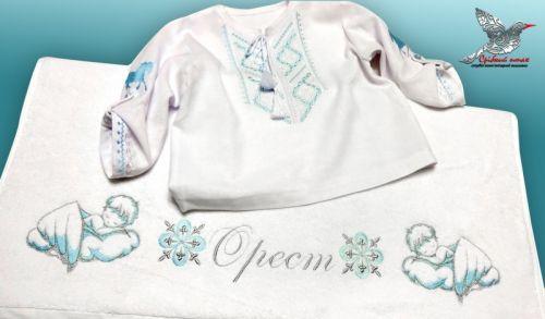 Мальчиковая вышиванка и полотенце для крестин