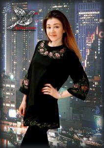 """Чорна сукня з вишивкою Сукня """"Нічна квітка"""""""