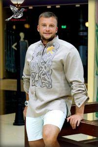 "Embroidered apparel - Men Чоловіча сорочка з вишивкою ""Птахи"""