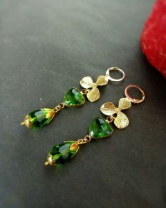 """Cережки з зеленим каменем Сережки """"Greengold"""""""