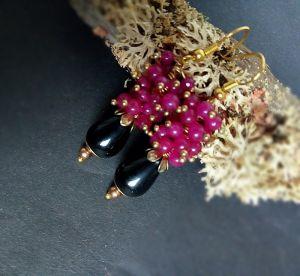 Earrings Сережки з агатом і нефритом