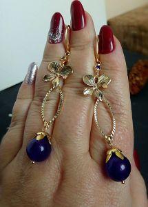 Фіолетові сережки Сережки з александритом