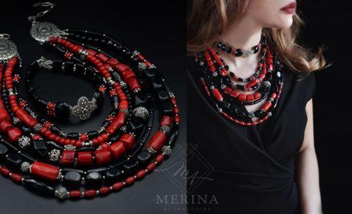 Ожерелье и чокер Красное и черное