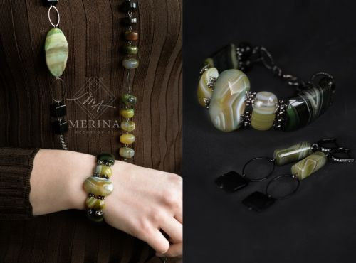 Ожерельє, браслет и серьги Оливковий аромат