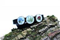 Двойной браслет чекер с настоящими цветами