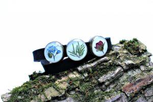 Блакитний браслет Подвійний браслет чекер зі справжніми квітами