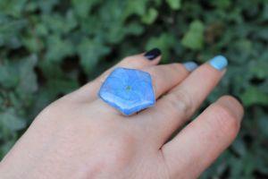 Кольца ручной работы Кольцо гортензией в ювелирной смоле