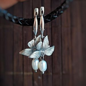 Олейник Наталья Серебряные серьги с жемчугом, свадебные серьги