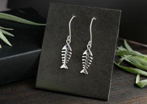Сережки ручної роботи Срібні сережки рибки