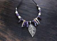 Праздничное колье из камне, бусы из аметиста, ожерелье фиолетовое