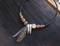 Асимметричное ожерелье бохо со срезом Агата и натуральным камнем