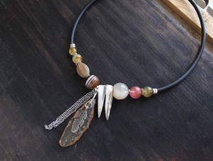 Олейник Наталья Асимметричное ожерелье бохо со срезом Агата и натуральным камнем