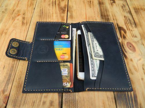 Портмоне ручной работы из кожи, для денег, кредиток, документов