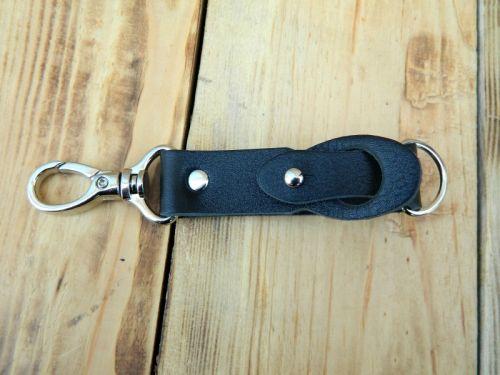 Шкіряний брелок для ключів чорного кольору