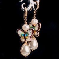 """Сережки з перлами """"Метелики"""""""