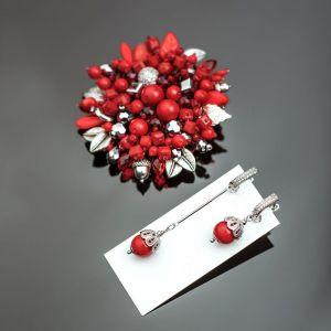 Брошки ручної роботи Розкіш коралу. Корал червоний. фурнтура преміум якості