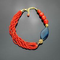 Коралл оранжевый и синий агат. Фурнитура премиум качества