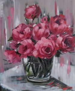 Нарисованные картины Розы в вазе