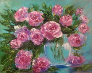 Паталаха Ирина Розы в голубой вазе
