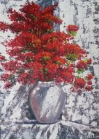 Красные цветы в вазе