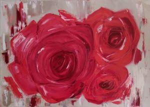 Нарисованные картины Розы красные