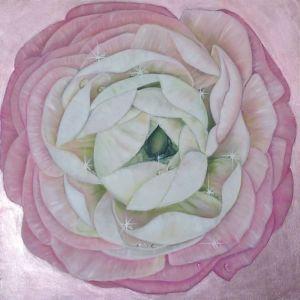 Мальовані картини Рожевий ранункулюс