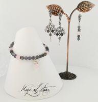 Комплект украшений из танзанита, кварца и серебра 925.