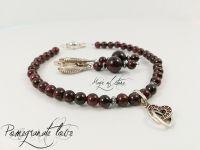 Комплект украшений из граната и серебра 925 пр. Гранатовая любовь.