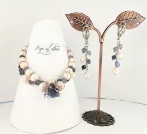 Crafters Комплект прикрас з танзанита, перлів і срібла 925 пр.