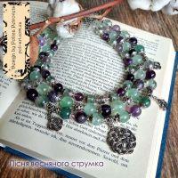 """Комплект ожерелье, браслет и серьги из флюорита """"Песня весеннего источника"""""""