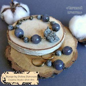 """Poli-Art Комплект браслет и серьги из агата, яшмы и гальванизированный кварц """"Волшебный кристалл"""""""