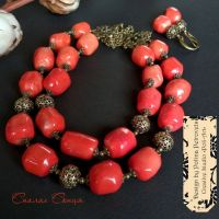 """Комплект ожерелье и серьги из кораллов """"Вспышка Солнца"""""""